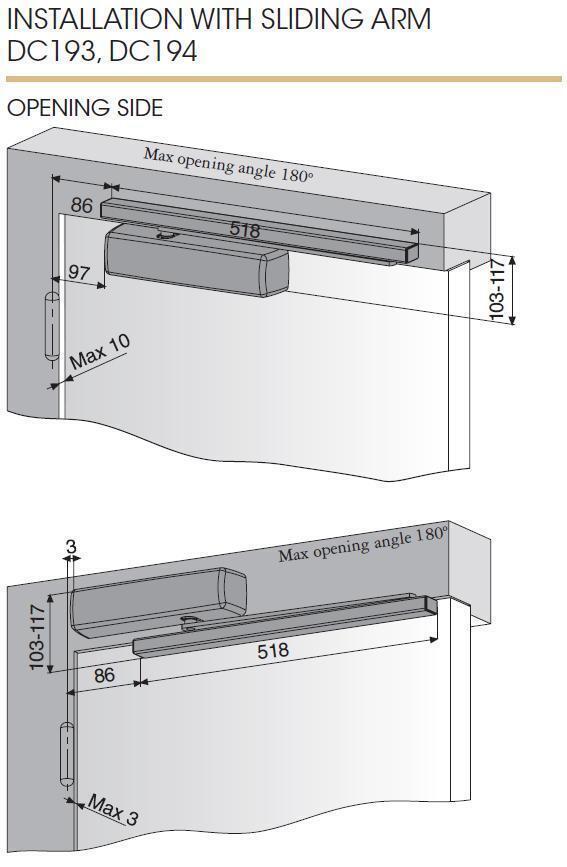 Door Closer Abloy Dc335 Bc Silver En 3 5 100kg 1250mm