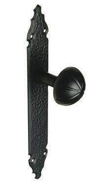 DOOR KNOB+PLATE AMIG 19 MATT BLACK EPOXY (plate 280x45mm, knob Ø 55mm)