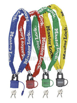 CHAIN NYLON FINISH MASTER LOCK 900 mm ( Ø 6MM) WITH PADLOCK, GREEN