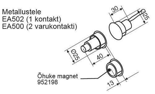 UKSEKONTAKT ABLOY EA502 (metall/profiilustele) kahe juhtmega,d=25mm/Cap=12mm (NC tüüp;100V; 0,5Amax; 7,5Wmax), Hall